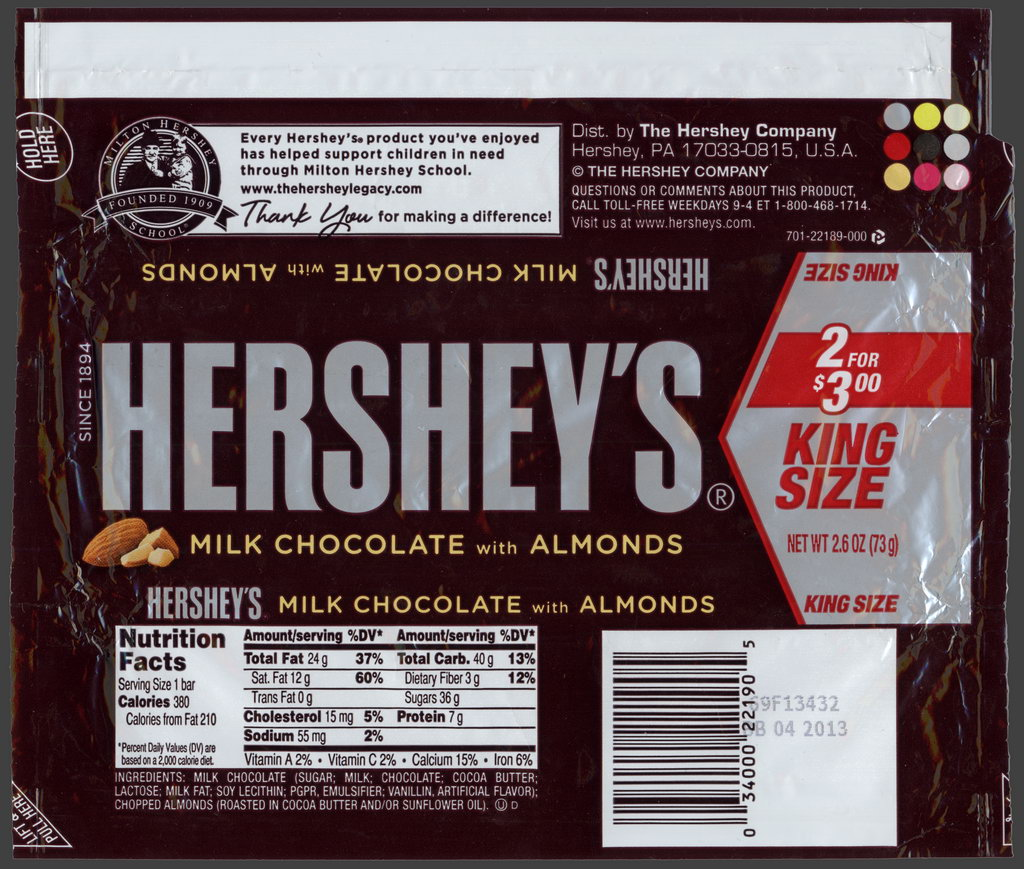 Hershey - Hershey's Milk Chocolate with Almonds - 2 for 3-dollars King Size - candy package wrapper - 2012