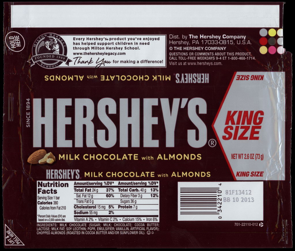 Hershey - Hershey's Milk Chocolate with Almonds - King Size - candy package wrapper - 2012