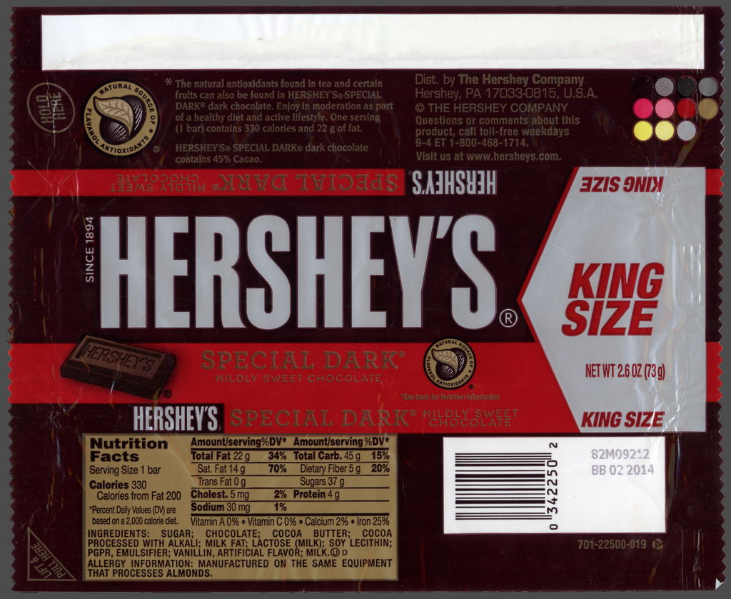 Hershey - Hershey's Special Dark - King Size - candy package wrapper - 2012
