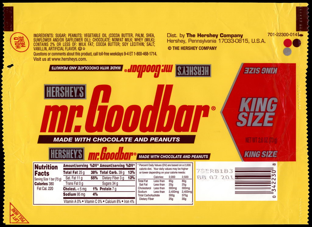 Hershey - Mr Goodbar - King Size - candy package wrapper - 2012