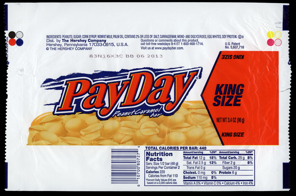 Hershey - Pay Day - King Size - candy package wrapper - 2012