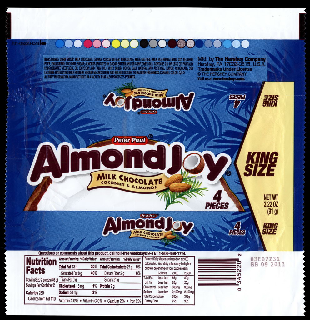 Hershey - Peter Paul Almond Joy - King Size - candy package wrapper - 2012