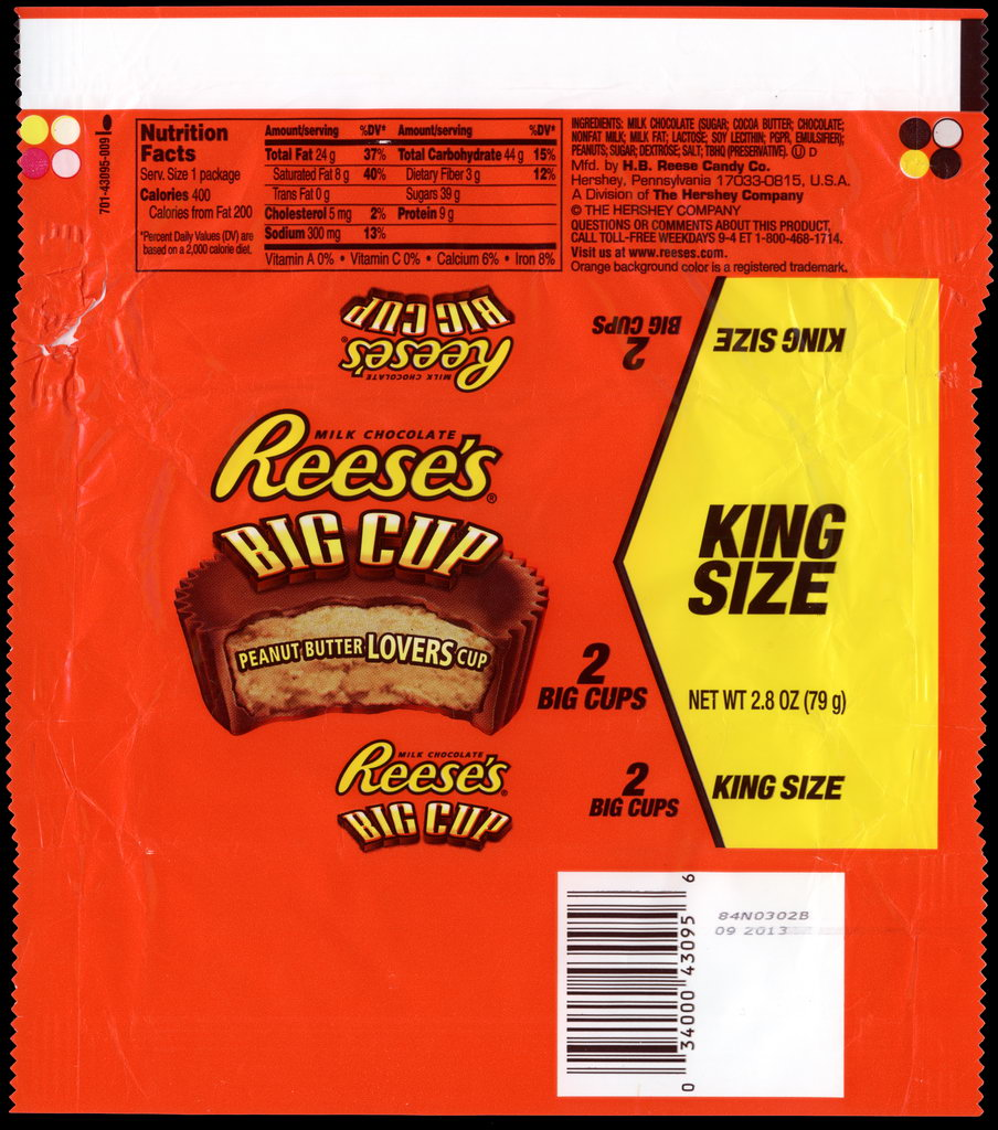 Hershey - Reese's Big Cup - King Size - candy package wrapper - 2012