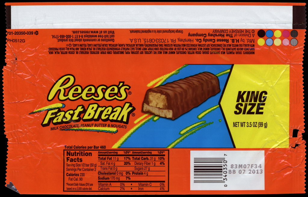Hershey - Reese's Fast Break - King Size - candy package wrapper - 2012