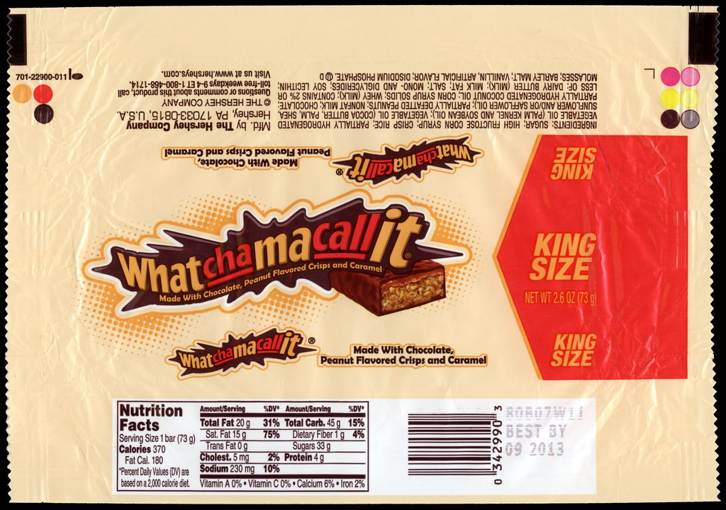 Hershey - Whatchamacallit - King Size - candy package wrapper - 2012