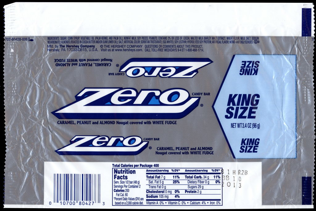 Hershey - Zero - King Size - candy package wrapper - 2012