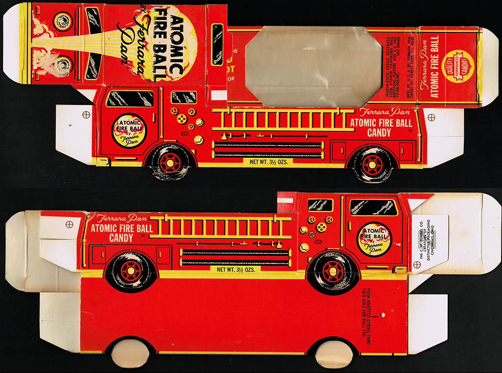 Ferrara Pan - Atomic Fire Ball - Candy Engine Fire Truck - novelty candy box - 1975