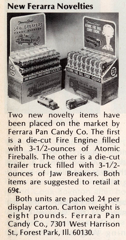 Ferrara Pan Fire Truck - candy trade clipping - April 1975