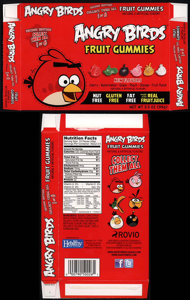 Healthy Food Brands - Angry Birds Fruit Gummies - 1 of 6 Red Bird - candy box - 2013