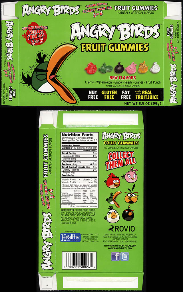 Healthy Food Brands - Angry Birds Fruit Gummies - 2 of 6 Green Bird - candy box - 2013