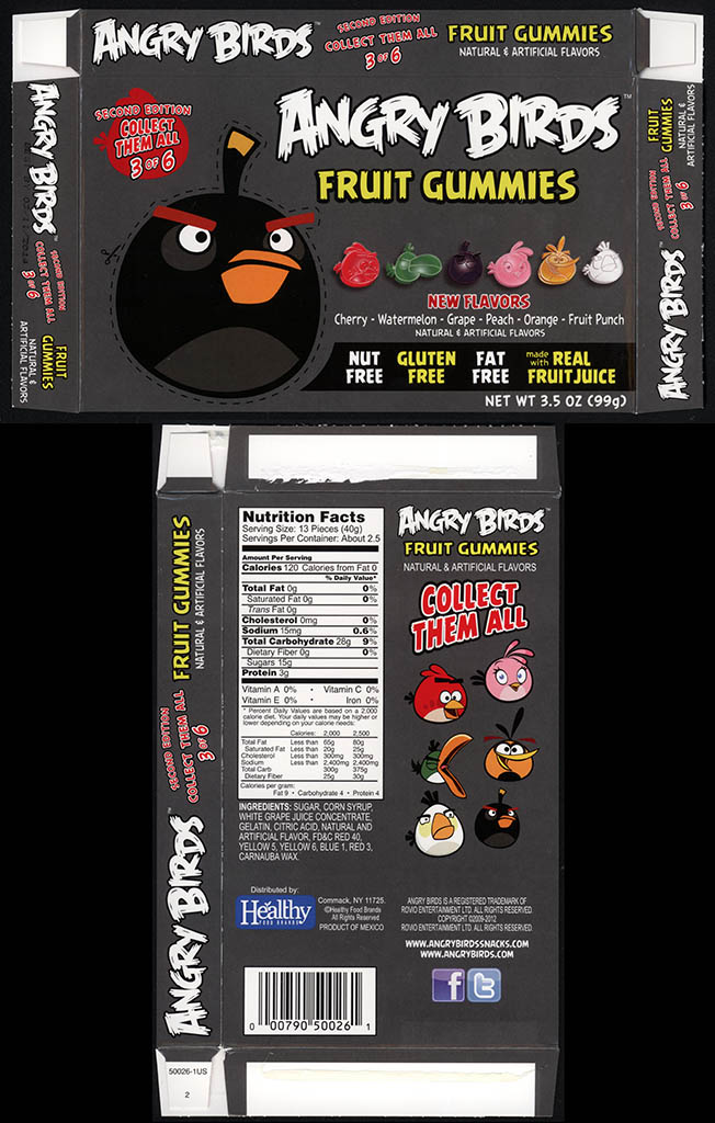 Healthy Food Brands - Angry Birds Fruit Gummies - 3 of 6 Bomb Bird - candy box - 2013