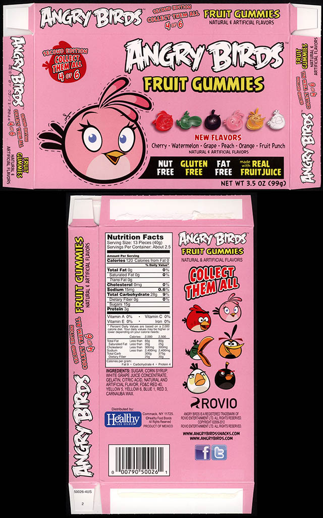 Healthy Food Brands - Angry Birds Fruit Gummies - 4 of 6 Pink Bird - candy box - 2013
