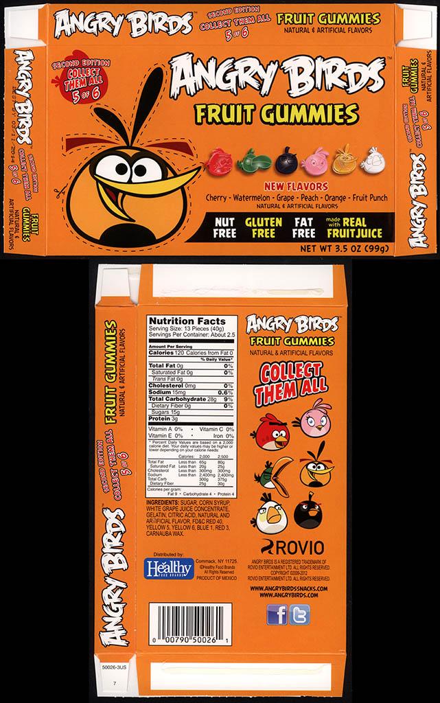 Healthy Food Brands - Angry Birds Fruit Gummies - 5 of 6 Orange Bird - candy box - 2013