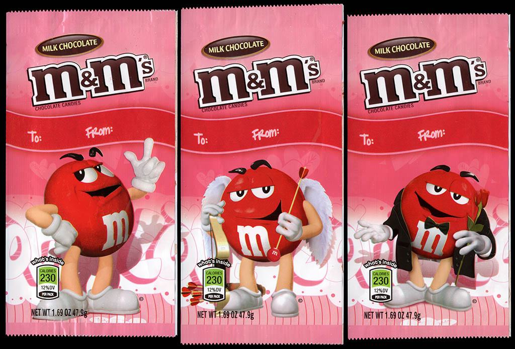 Mars - M&M's Milk Chocolate Valentine's Day holiday packs - 2011-2012 - 1-3