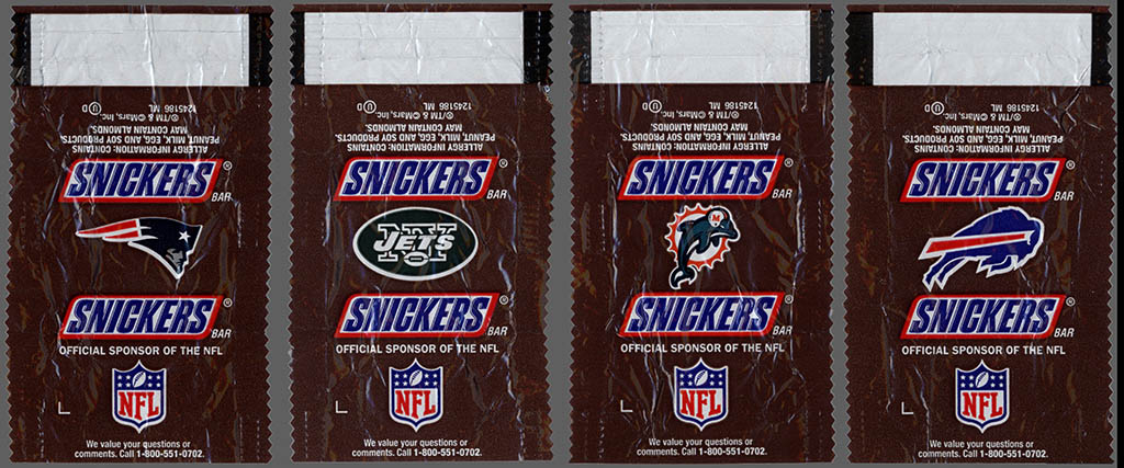 Mars - Snickers NFL Minis - AFC East - chocolate candy wrapper - Fall 2012