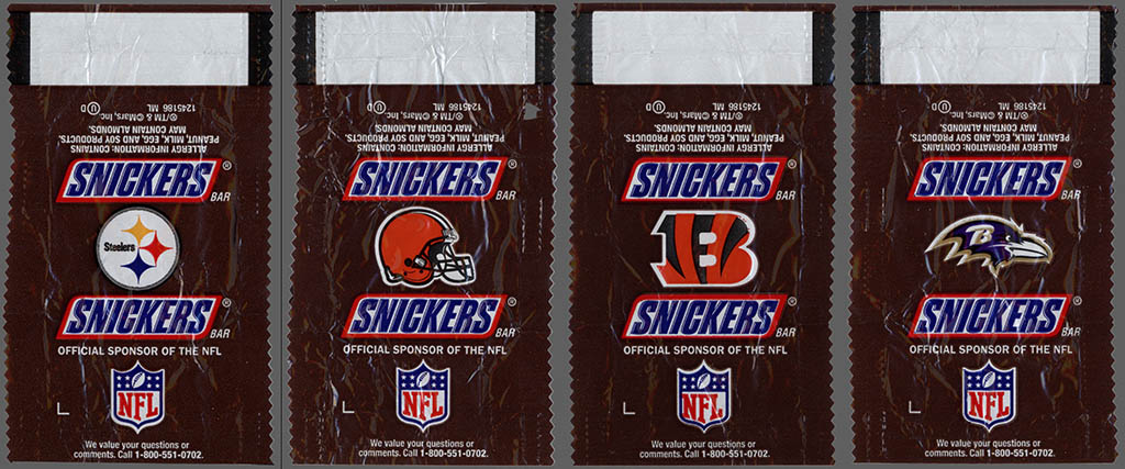 Mars - Snickers NFL Minis - AFC North - chocolate candy wrappers - Fall 2012