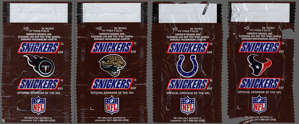 Mars - Snickers NFL Minis - AFC South - chocolate candy wrappers - Fall 2012