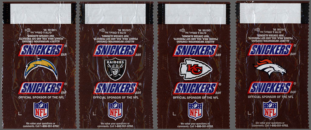 Mars - Snickers NFL Minis - AFC West - chocolate candy wrappers - Fall 2012