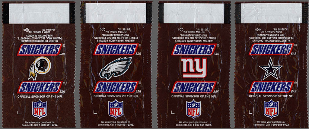 Mars - Snickers NFL Minis - NFC East - chocolate candy wrapper - Fall 2012