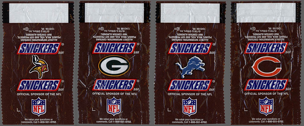 Mars - Snickers NFL Minis - NFC North - chocolate candy wrappers - Fall 2012