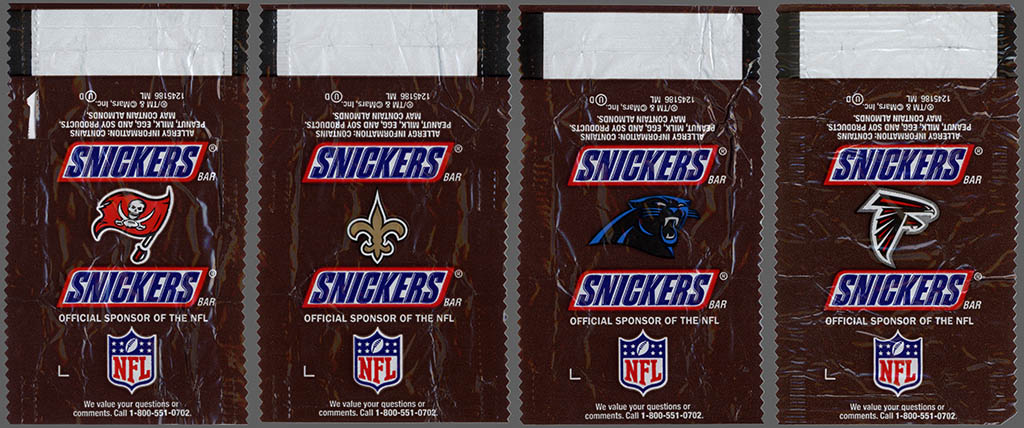 Mars - Snickers NFL Minis - NFC South - chocolate candy wrappers - Fall 2012