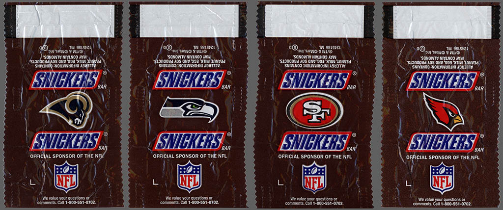 Mars - Snickers NFL Minis - NFC West - chocolate candy wrappers - Fall 2012