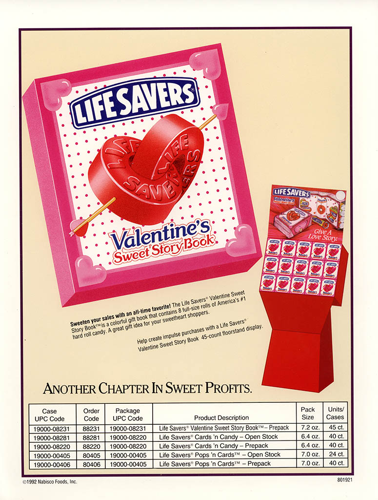 Nabisco Foods - Lifesavers - Valentines Treats 1994 - brochure - back cover