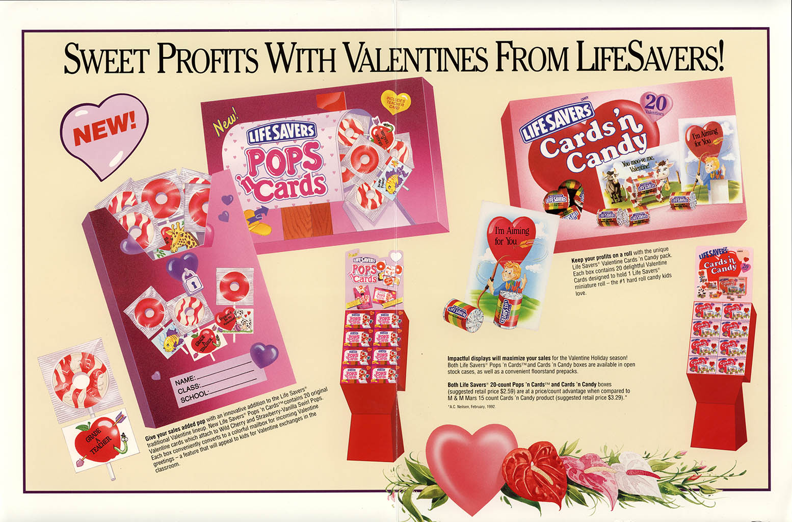 Nabisco Foods - Lifesavers - Valentines Treats 1994 - brochure - center spread
