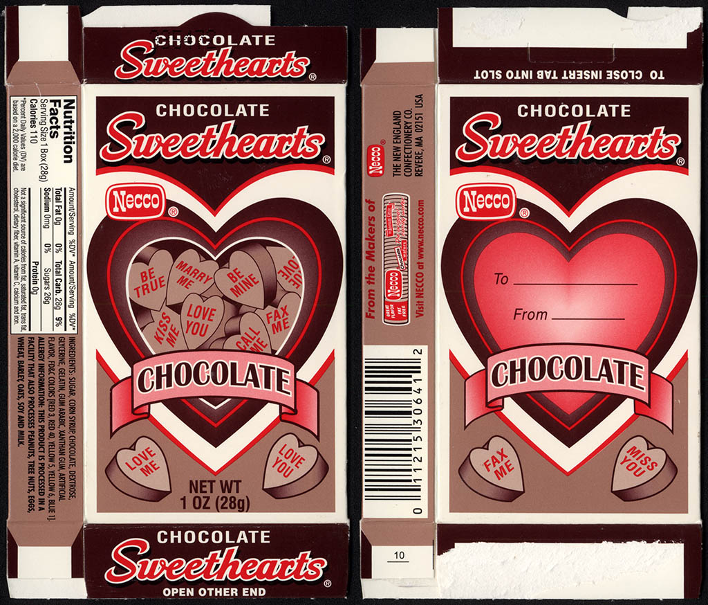 Necco - Chocolate Sweethearts - Valentine's candy box - circa 2005