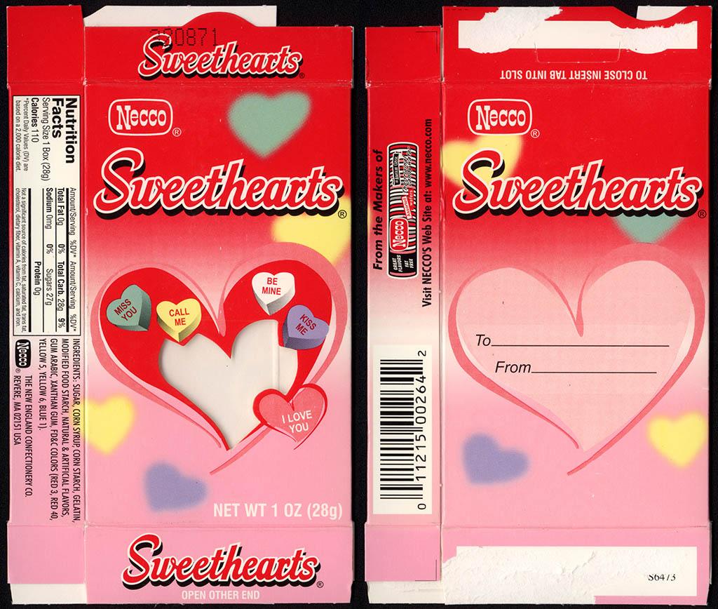 Necco - Sweethearts - Valentine's candy box - circa 2010