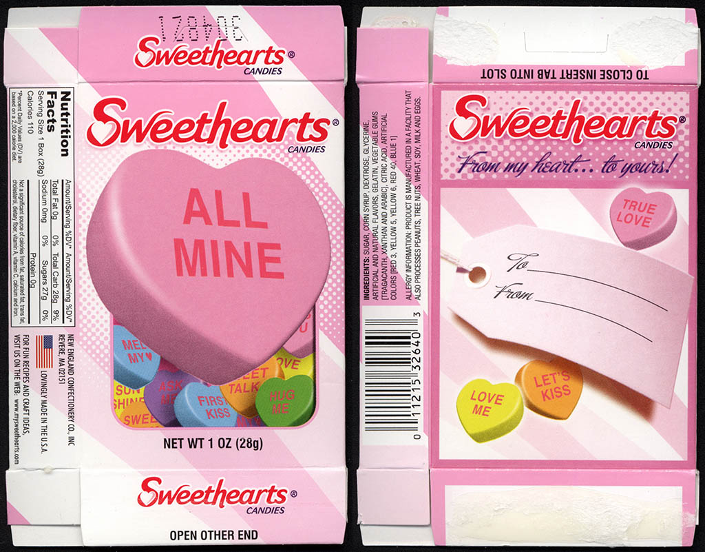 Necco - Sweethearts - ALL MINE - Valentine's candy box - 2012