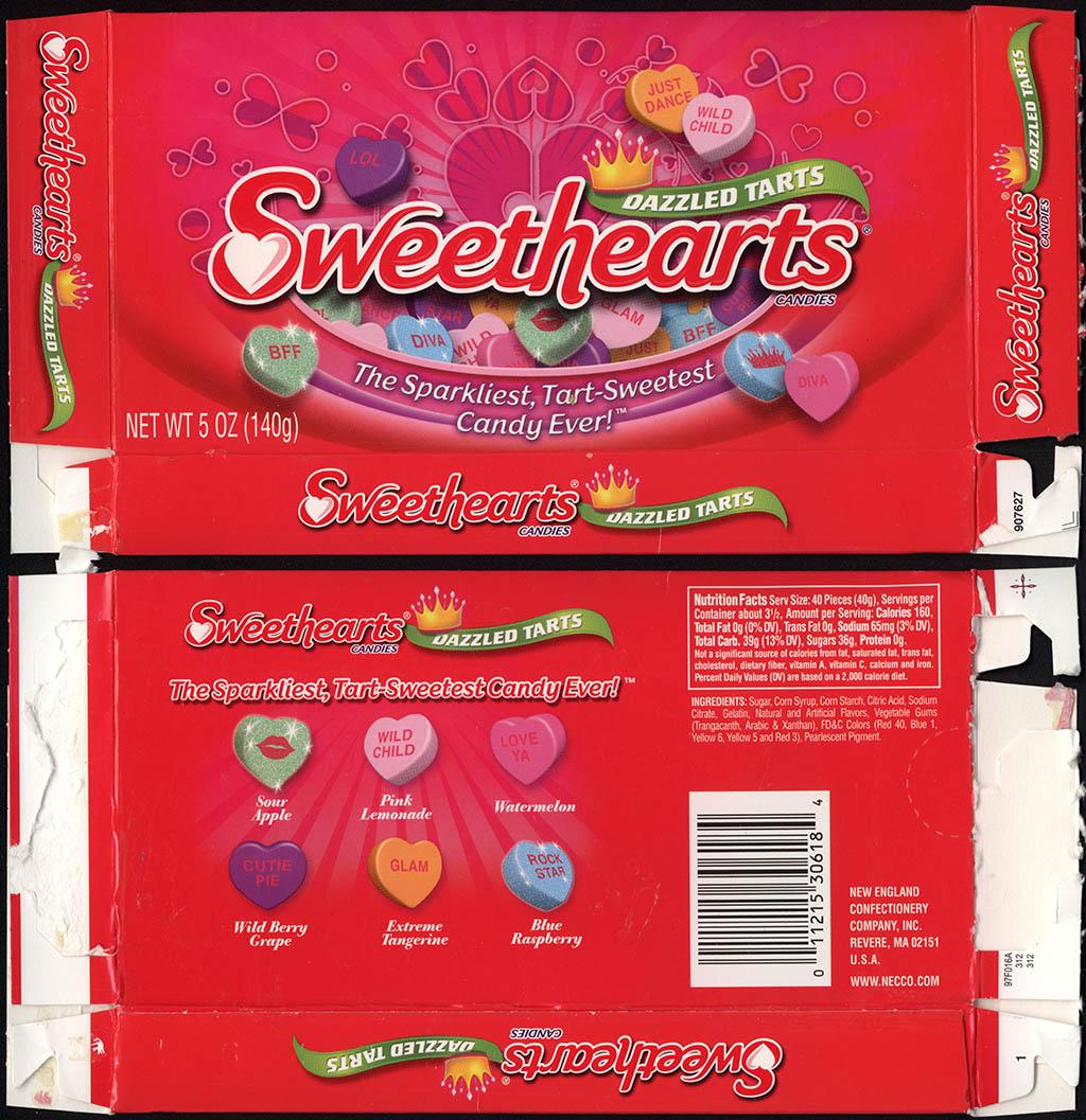 Necco - Sweethearts Dazzled Tarts - 5oz Valentine's candy box - circa 2011