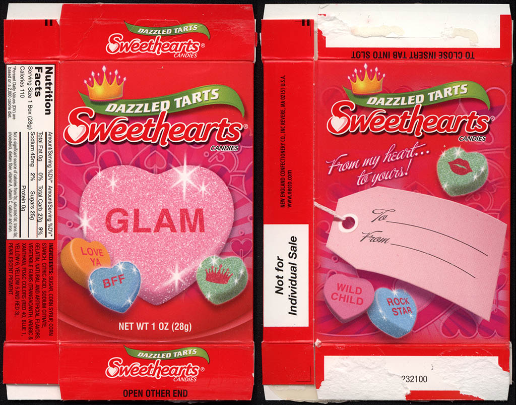 Necco - Sweethearts Dazzled Tarts - GLAM - Valentine's candy box - 2012