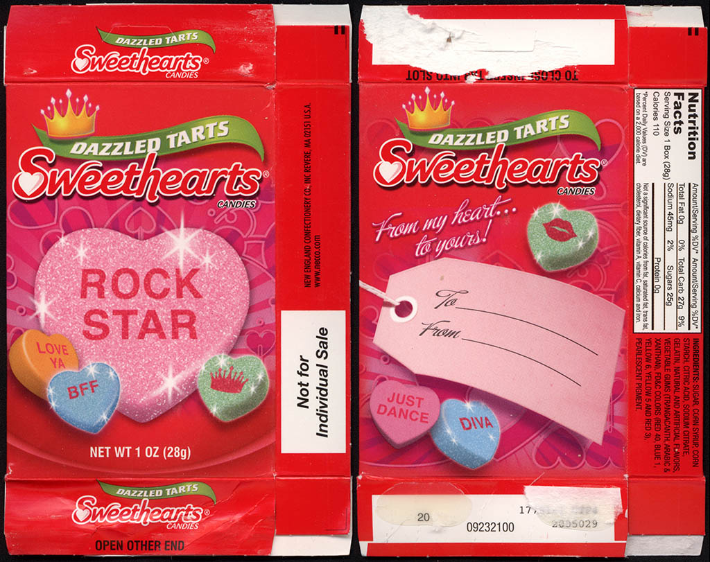 Necco - Sweethearts Dazzled Tarts - ROCK STAR - Valentine's candy box - 2011