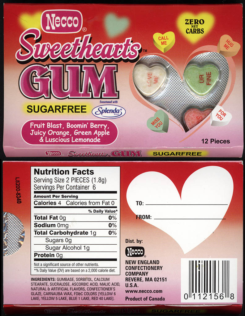 Necco - Sweethearts gum - Valentine's gum package - circa 2005
