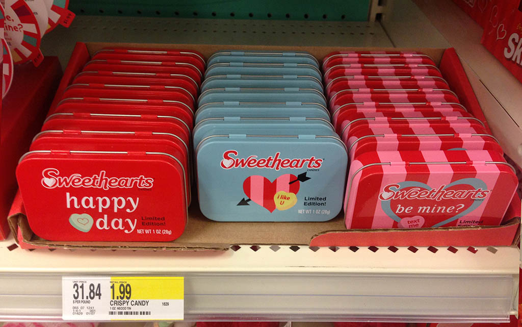 Necco Sweethearts limited edition candy tins at Target - February 2013