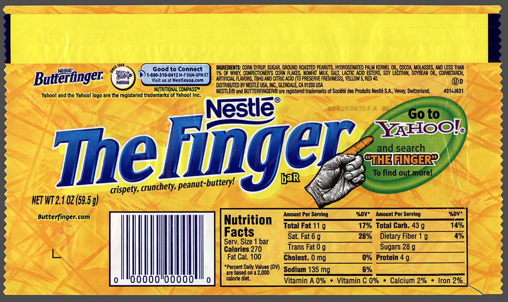 Nestle - 7-Eleven - The Finger - Butterfinger - promotional candy bar wrapper - April 1 2008