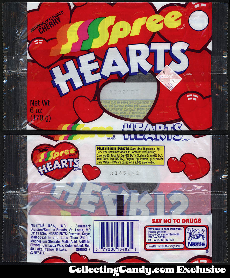 Nestle - Sunline-Sunmark - Spree Hearts - 6oz Valentine's candy package - circa 2001