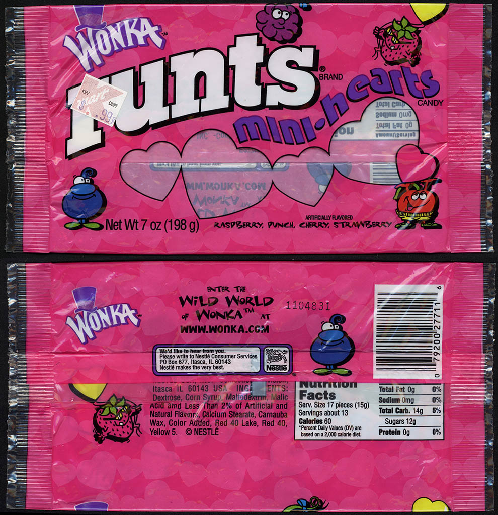 Nestle - Wonka - Runts Mini-Hearts - 7oz Valentine's candy package - circa 2001