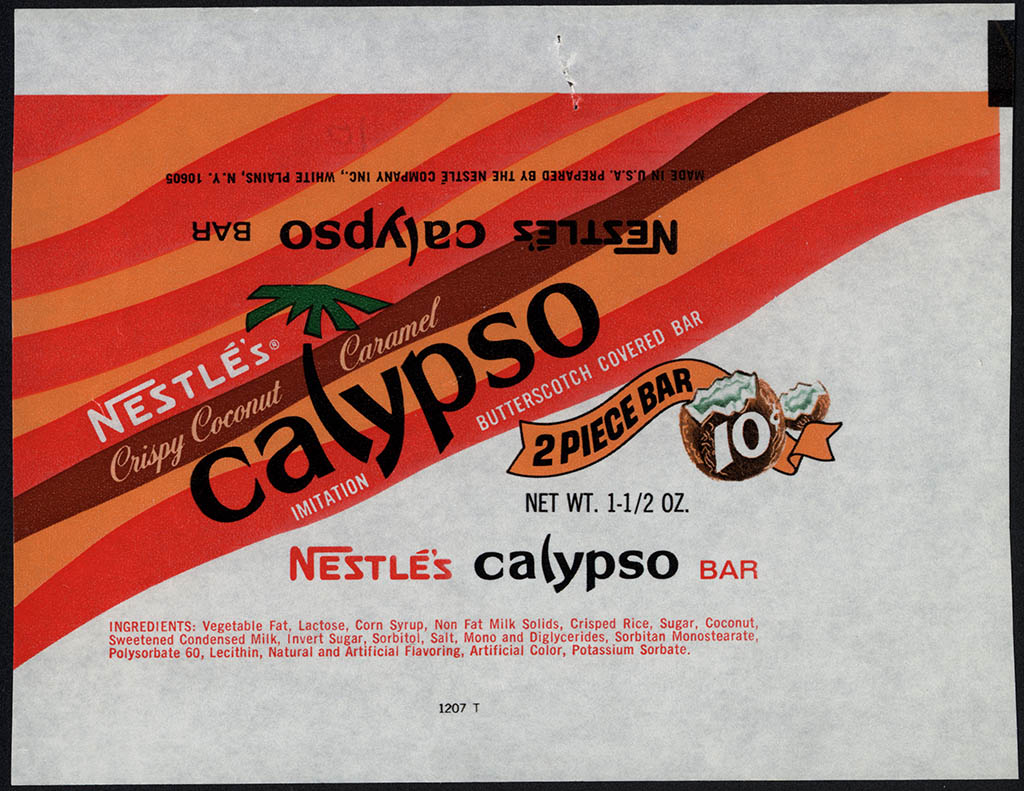 Nestle's - Calypso - 2 Piece Bar - 10-cent candy bar wrapper - 1960's