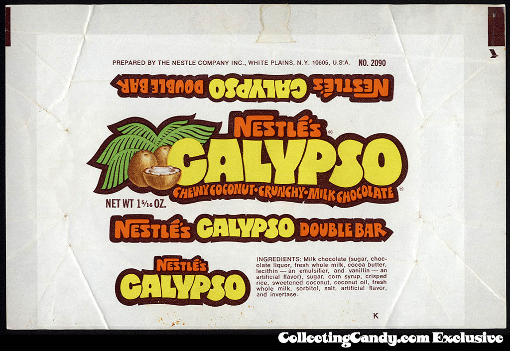 Nestle's - Calypso - candy bar wrapper - early 1970's