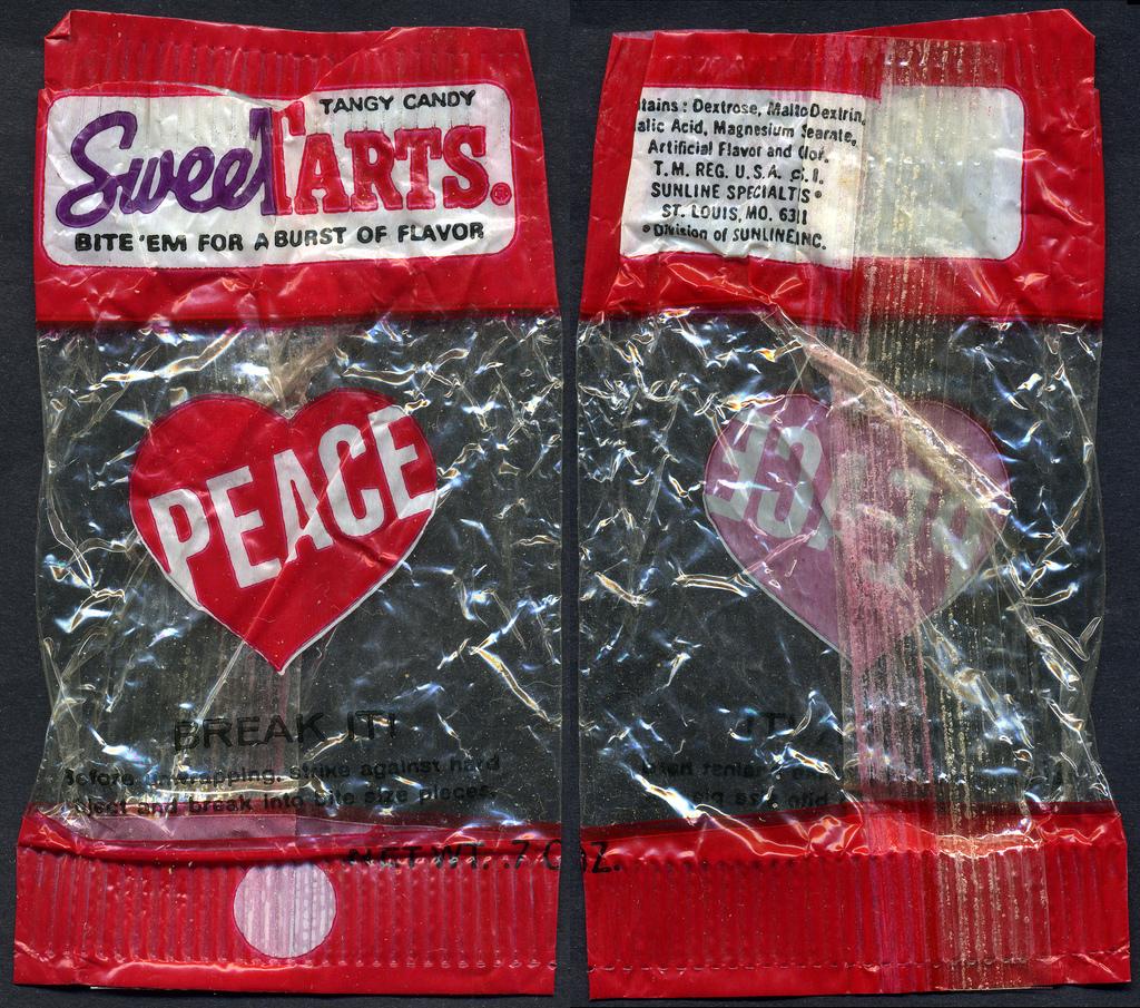 Sunline - Sweetarts - Peace Valentine's - cello candy wrapper - circa 1970