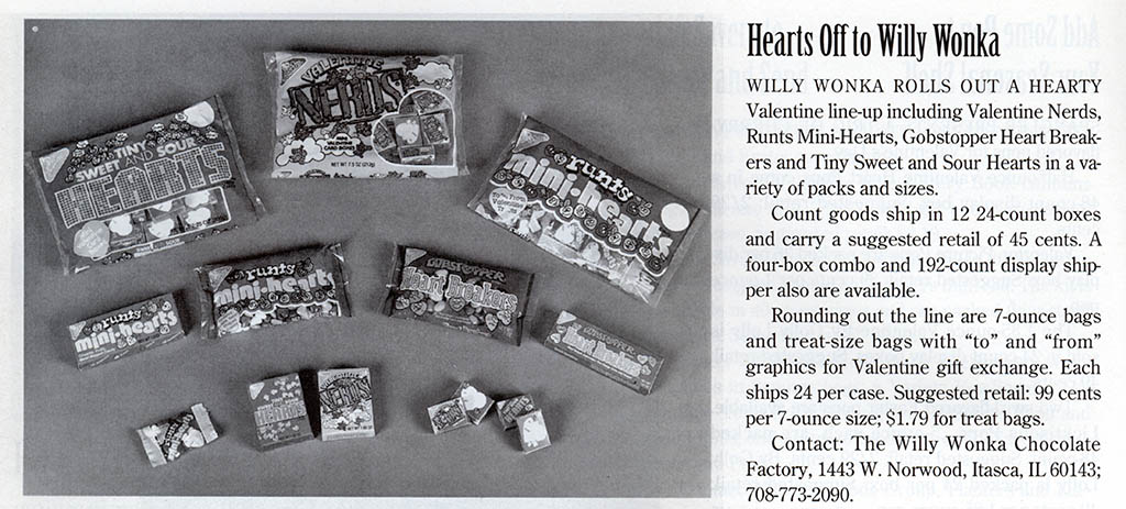 Willy Wonka Valentine candy - trade clipping - September 1993