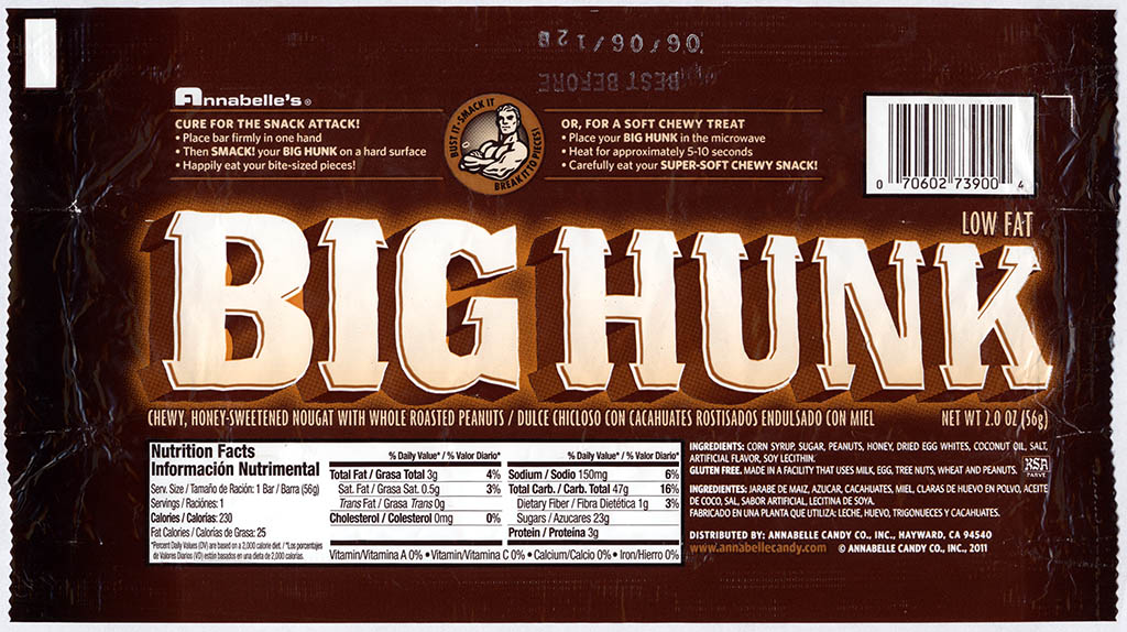 Annabelle's - Big Hunk - new design - candy bar wrapper - 2011