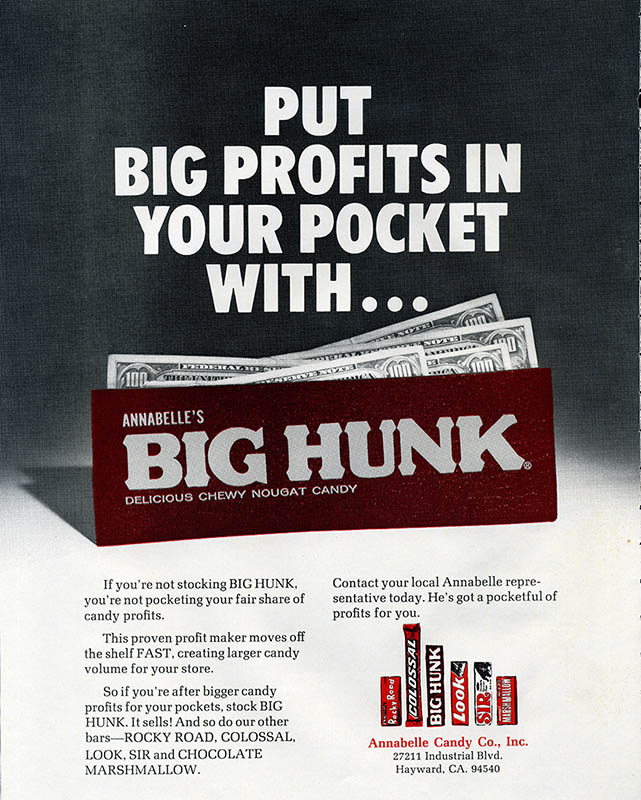 Annabelle's - Big Profits Big Hunk - candy trade magazine ad -  October 1977
