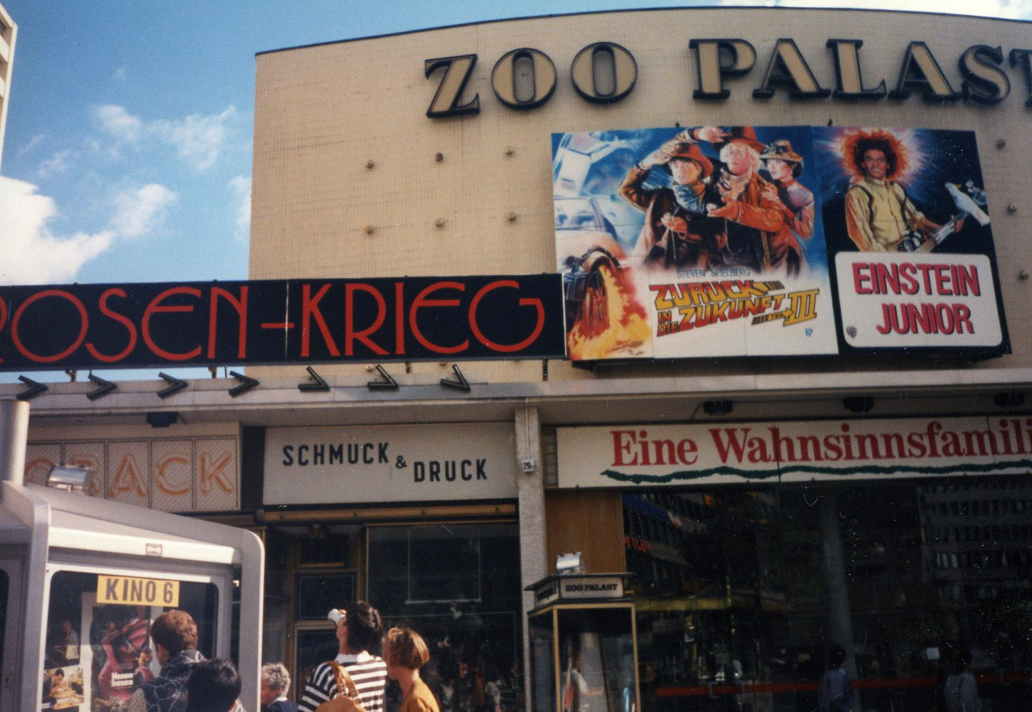 Berlin movie theater marquee in July 1990 - Back to the Future 3 and Young Einstein