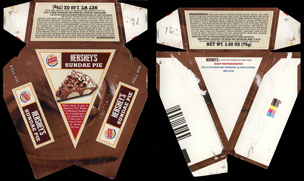 Burger King - Hershey's Sundae Pie - fast food dessert box - 2010