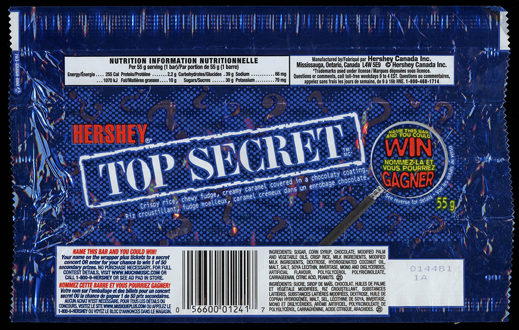 Canada - Hershey - Top Secret - chocolate candy bar wrapper - circa 2000