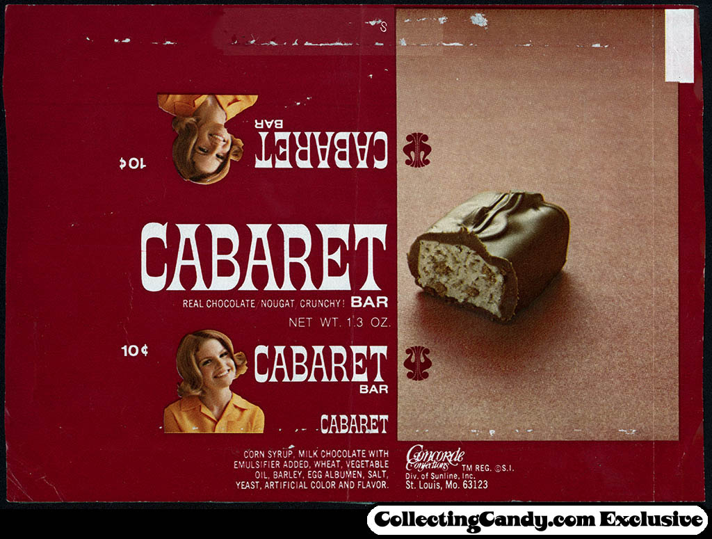 Concorde Confections - Cabaret bar - 10-cent candy bar wrapper - 1970