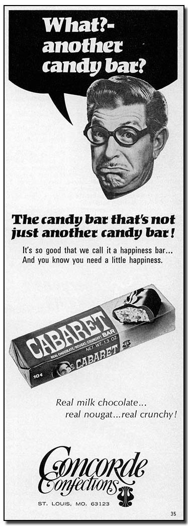 Concorde Confections - Cabaret bar - candy industry trade ad - November 1969
